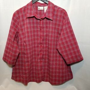 Faded Glory Red Plaid Stretch Shirt